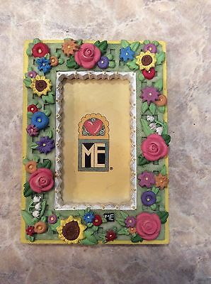 Mary Engelbreit Mini Magnetic Picture Frame Flowers Resin 2 1/2 X 3 1/2 Euc
