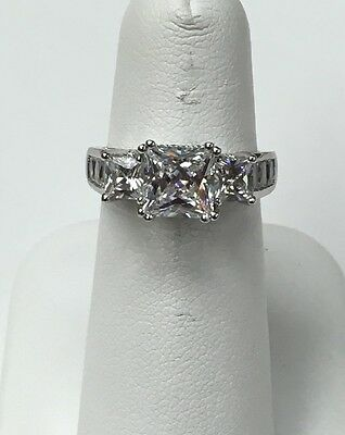3.5 ct TW Rhodium Plated Sterling Silver Princess Cut CZ Ring Size 6