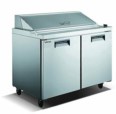 "Vortex Refrigeration 2 Door 48"", With 12 Pans !! Sandwich Prep Table"