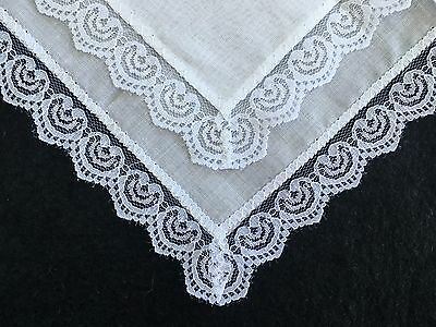 1 x Ladies White Cotton Handkerchief with lace edges Perfect Hankie for Weddings