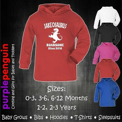 Baby Hoodie - Roarsome Kids Toddler Funny Gift Shower Christening Personalised