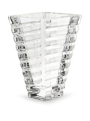 """Rogaska 8"""" Horizons Stable Trapezoid Architecture Vase Clear Lead Crystal Gift"""