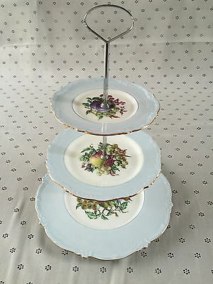 Heathcote Three Tiers Fruit Pattern Cake Stand Made In England