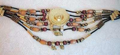 BELLY DANCER Style Belt Goldtone Metal CONCHO Medalllion & Accents w/ Wood Beads