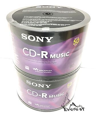 100 SONY Blank Music CD-R CDR Branded 80min Digital Audio Recordable Media Disc