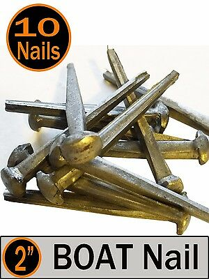 """2"""" BOAT NAILS ~ Rustic-Vintage-Authentic round head Boat nail ~ QTY (10)"""