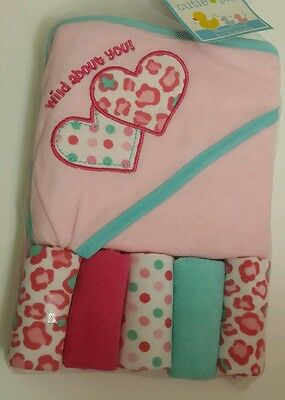 Cutie Pie Baby Infant Hooded Towel & Washcloth Gift Set Girls Pink Shower