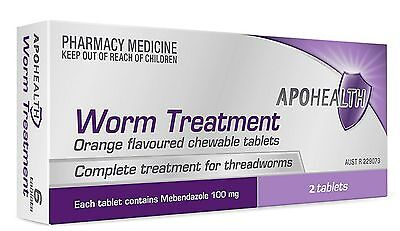 = PRICE SMASH APOHEALTH worm Tablets (= Vermox or Combantrin1 ) 2 tablets