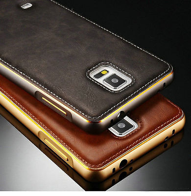 Luxury Leather Back Case Aluminum Metal Bumper Cover For Samsung Galaxy Note 4