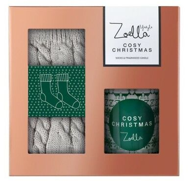 Zoella Lifestyle Cosy Christmas 2017 Socks And Fragranced Candle Gift Set