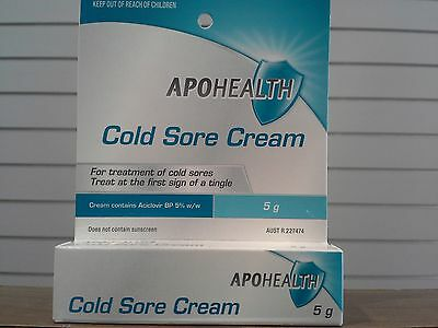 3xApohealth Cold Sore Cream 5g equivalent to Zovirax (TWICE THE SIZEAND CHEAPER)