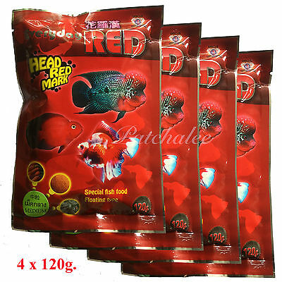 Everyday Red High Quality Flowerhorn and Cichild Fish Food 120g. Size S,M,L