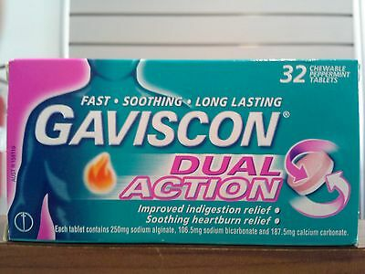 =>Price Smash Gaviscon Dual Action 32 Chewable Peppermint Tablets, For Heartburn