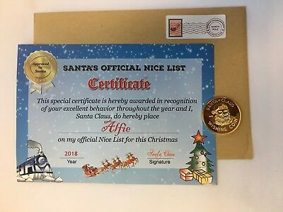 Personalised Christmas Santa Claus Nice List Certificate & Santa Wishing Coin A5