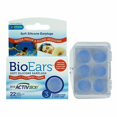 Bioears Soft Silicone Earplugs | 3 Reusable Pairs & Carry Case