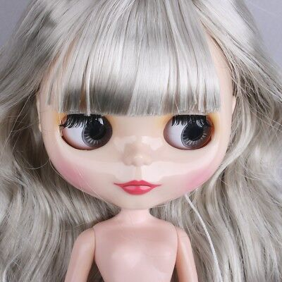 "For 12""Neo Blythe doll Takara doll Joint Nude Doll Silver Long Hair Free Box"
