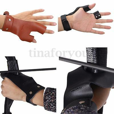 Traditional Leather Arrow Bow Glove Finger Hand Guard Archery Hunting Shooting