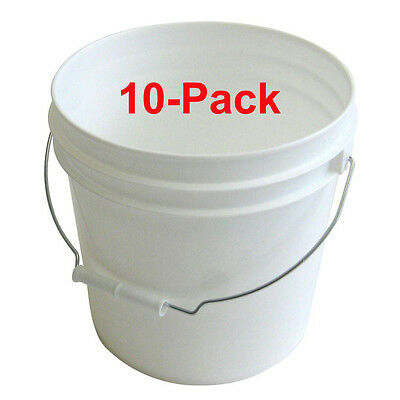 (10-Pack) 2-Gal.Paint Pail Argee White Heavy-Duty Bucket Plastic Metal Handle