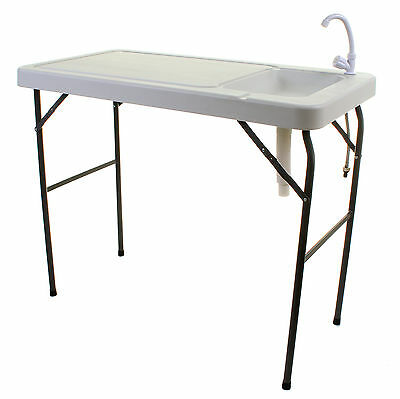 Camping Sink Table Worktop Plastic White Cooking Fishing Foldable W/ Tap & Plug