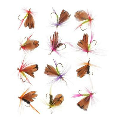 12Pcs/Lots Flies Butterfly Trout Dry Fly Fishing Tackle Lures Bait Hooks