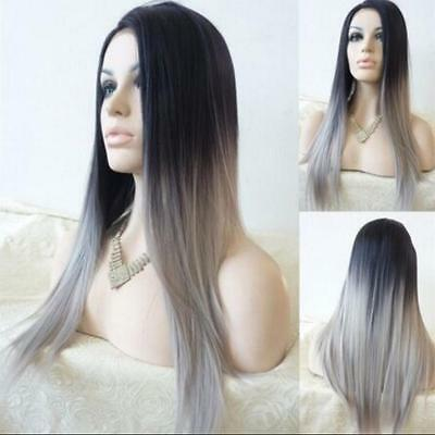 Women's Long Straight Full Wig Heat Resistant Hair Black Grey Party Wigs Amazing