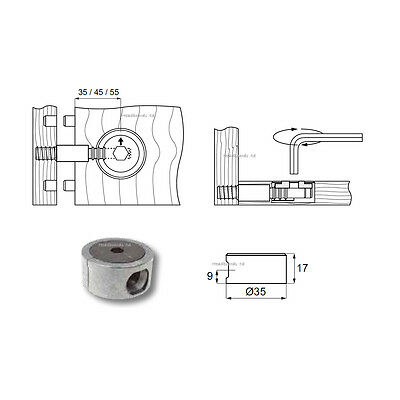 Replacements 35mm Round Metal Housing Heavy Duty bed fittings for wooden beds