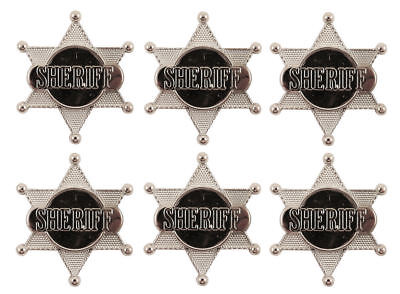 6 Silver Sheriff Badges - Pinata Toy Loot/Party Bag Fillers Wedding/Kids Police