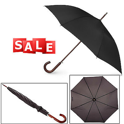 Classic Mens Umbrella Automatic Open Wooden Stick Windproof Folding Black Color