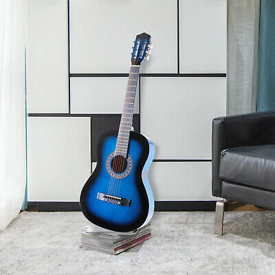 """38"""" Acoustic Guitar With Guitar Case, Strap, Tuner and Pick Steel Strings Blue"""