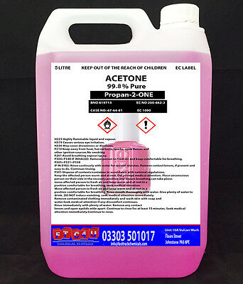 Quality 1 x 5 Litres Pink Acetone 99.5% Pure Nail Polish Remover