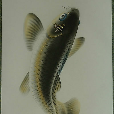Big leap of Carp wall hanging scroll painting colorful drawing