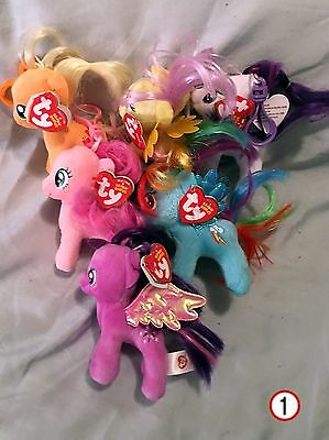 My Little Pony Ty Beanie Baby Clips set of 6 - New  - MWMT - FREE SHIPPING -1-