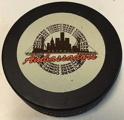 1990-92 Detroit Ambassadors Official Game Hockey Puck OHL