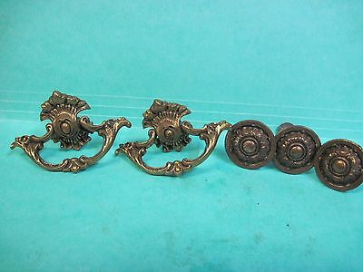lot of 5 antique dresser drawer pull hanging handal bronze colored steel originl