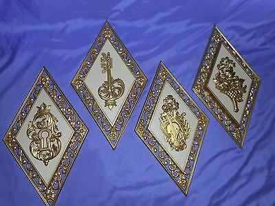 4 Vintage Homco Home Interior Gold Mid Century Wall Plaques 4271 (Abc&d) Ornate