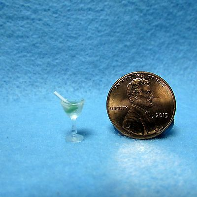 Dollhouse Miniature Martini Glass with Olive and Stirrer ~ FA11014
