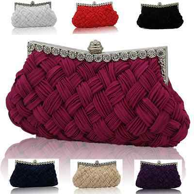 Womens Satin Wedding Bag Crystal Diamante Evening Clutch Party Prom Purse Chains