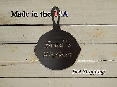 Kitchen Sign, Personalized Skillet Art, Metal, Rustic, Mother's Day Gift, S1089