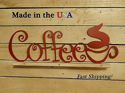 Coffee Sign with Cup, Shop Decor, Kitchen, Cafe Decor, Vintage Art, Coffee,S1100