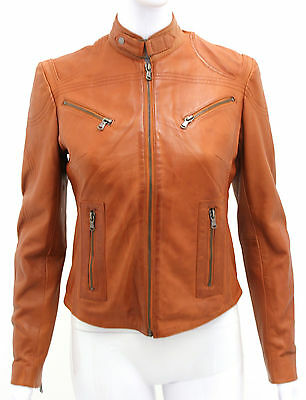 Pansy Cognac Ladies Womens Designer Casual Biker Party Club Real Leather Jacket