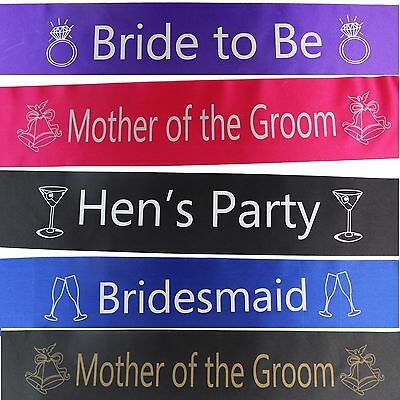 SASH Bride To Be Bridesmaid Maid of Honour Mother Groom SASHES Bridal Shower