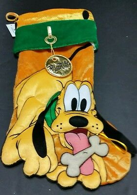 Disney Parks Pluto Plush Yellow Christmas Holiday Stocking