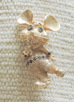 TOPO GIGIO 14K yellow gold custom made brooch