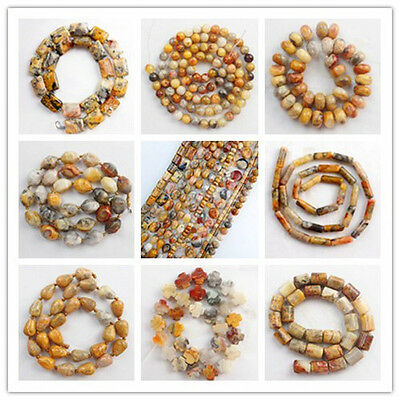 Natural Yellow Crazy Agate Gemstone Loose Beads Choose Like Shape Or Size