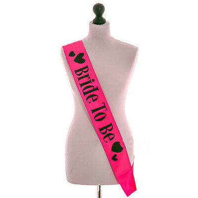 Fashion Hot Pink Bride to be Sash Hen Night Bachelorette Bridal Shower Party