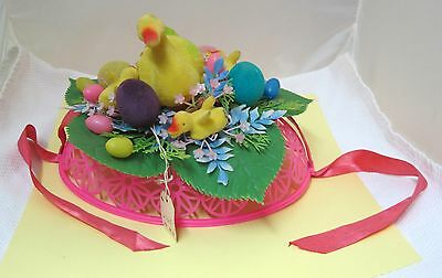 Vintage Flocked Plastic Amazing Easter Hat Ducks Eggs Baby Chick's MORE!