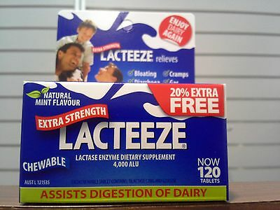 =  2X Lacteeze Extra Strength 4000 Alu 120 Chewable Tablets (240) Lactase Enzyme