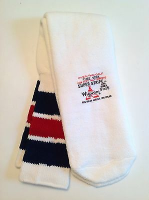 Vintage Wigwam Navy / Red Super Stripe Over The Calf Tube Socks Fits Size 9-15