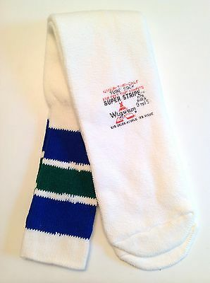 Vintage Wigwam Blue / Green Super Stripe Over The Calf Tube Socks Fits Size 9-15