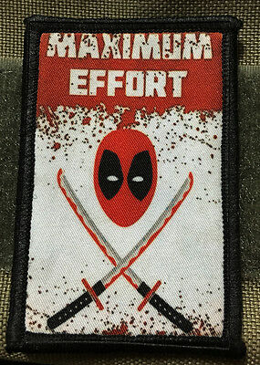 Deadpool Maximum Effort Morale Patch Funny Tactical Military Army Flag USA